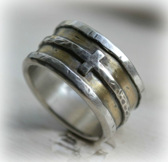 Mens Wedding Band Rustic Fine Silver 14K Yellow Gold