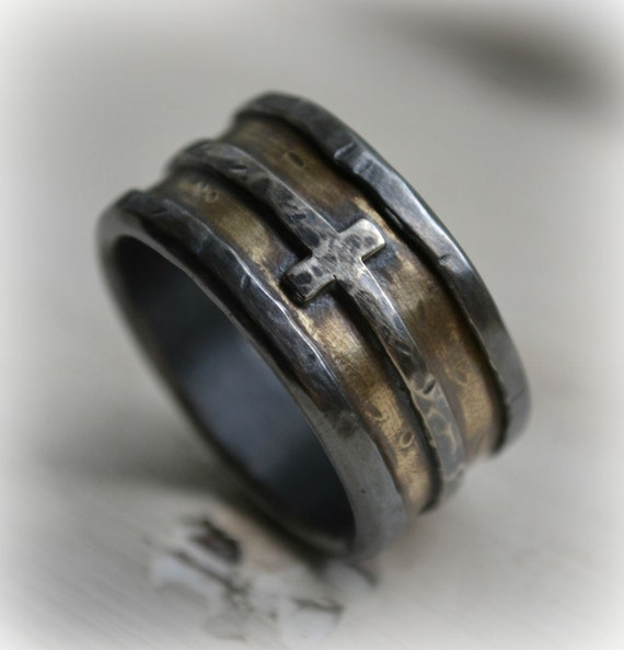 mens wedding band rustic silver brass and sterling