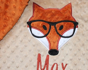 Baby blanket, Personalized blanket, Minky 29 x 35 blanket, Fox blanket, Choose your colors