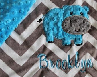 Baby blanket, Personalized blanket, Minky blanket 29 x 35 blanket, Hippo blanket, unisex blanket, minky blanket