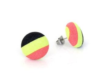 Striped button earrings - bright fabric earrings - cute stud earrings - lime black pink