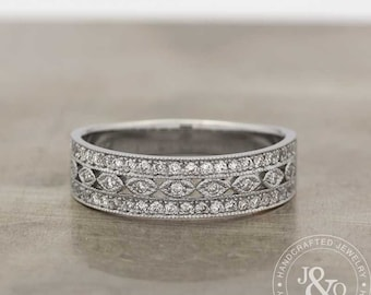 Pave Milgrain 14k White Gold Eternity Diamond Wedding Ring