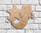 Wood Mermaid Clock Kids Wall Clock Ocean Nursery