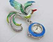 FINAL PAYMENT for  Marlyse. Art Deco Bucherer Silver Enamel Lapel Fob Watch. Rolex  Bird Of Paradise Swiss Pendant Watch.  Art Deco Brooch