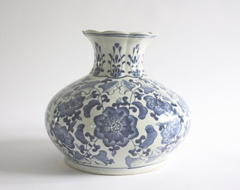 Large Vintage Blue and White Ceramic Vase