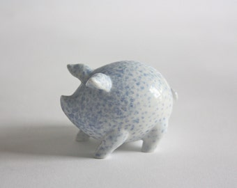 Small Blue and White Porcelain Pig