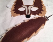 Felt Brown Wolf Mask and Tail set
