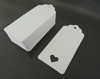 White Paper Tags - 50pcs White Tags Love Heart Tag Wedding Tags Hang Tags Gift Tags White Tag Plain Tags with Hole 9cm x 4cm