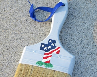 American Flag Cross Cemetery Brush, Blue