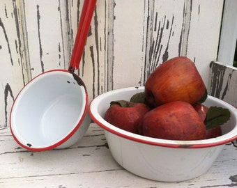 1940's red white enamelware bowl and dipper  laddle