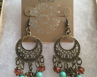 SALE! Boho Brass Charm Earrings