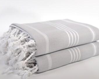 sale 50 off 2 gray peshtemals turkish towel gray white striped - Turkish Towels