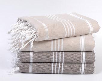 sale 50% off, 4 peshtemals, turkish towel set, turkish beach towel, beige & brown towels, hammam towels, beach wedding, hamam, throws, spa