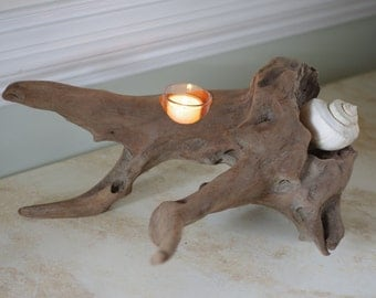 One Candle Driftwood Votive - Beach Decor