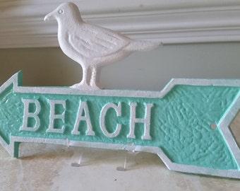 Beach Arrow Sign and Seagull - Coastal Decor - Cast Iron Wall Decor - PICK YOUR COLORS