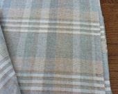 Wool Plaid Fabric Yardage Camel, Cream, Willow Green, Gray 1970's Vintage