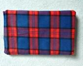 Red & Blue Plaid Fabric  Brushed Acrylic Lumberjack Yardage Vintage 1970's Reversible