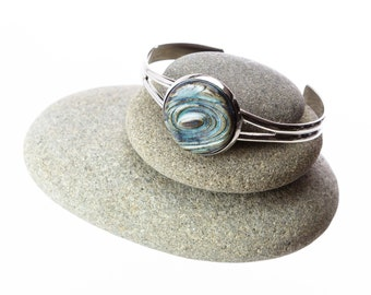 Blue Green Swirls Handmade Pottery Cabochon Adjustable Cuff Bracelet set in white plated brass / clay jewelry / casual jewelry /