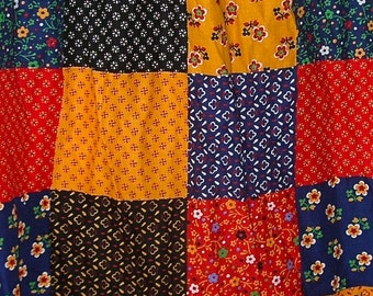 60s Calico Country Patchwork Long Prairie Skirt  size 8-10