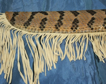 Knife Sheath Real Rattle Snake Skin and Deer Hide Handcrafted Tanned with Deer Hide Fringes Free Shipping