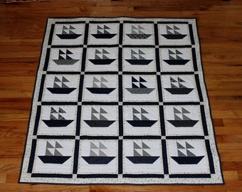 "Sailboat quilt blue white throw or lap size 52 x 43"" pieced reversible"