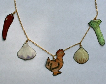 Chicken Soup Necklace / Copper Enamel Food Jewelry / Fun Get Well GIft