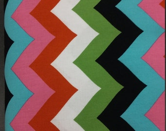 "Half Yard  18""x44"" Big Multicolor Chevron Tribal Print, for Quilting, Crafting, decorating, Creating Stunning Head Wraps, Patchworck pillow"
