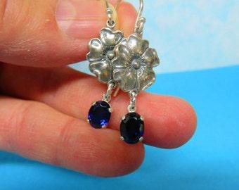 Sapphire Earrings - Sapphire Dangle Earrings - Beautiful 8x6mm Oval Sapphire Dangle Earrings