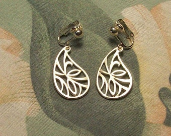 Large Silver or Gold Matte Leaves in a Teardrop Clip On or Pierced Earrings