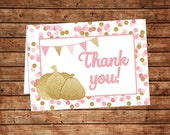 Thank you Cards- Pink and Gold Pumpkin- Printable File- Folded Thank You Cards- Baby Shower, Birthday