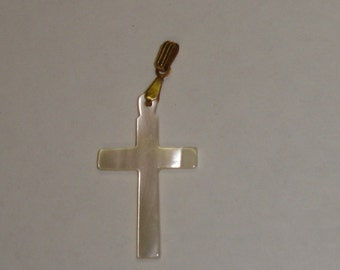 Vintage Hand Carved Mother Of Pearl Cross Necklace Pendant w Gold Plated Bail
