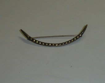 Antique Victorian Sterlng Silver Paste Rinestones Slender Crescent Pin Brooch-STEAMPUNK