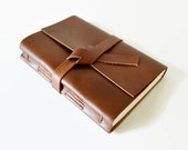 4x6 LINED Golden Brown Leather Journal Notebook Personalized With Initials