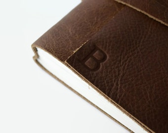 6x8 Personalized Leather Sketchbook / Blank Pages / Custom Journal / Gift for Artists/  Monogram Journal with Initials, Chocolate Brown