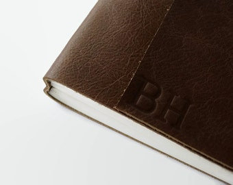 4x6 Personalized Leather Sketchbook / Blank Pages / Custom Journal / Gift for Artists/  Monogram Journal with Initials, Chocolate Brown