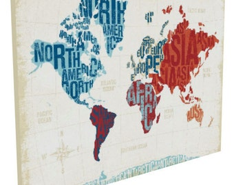 40x30 Modern World Typography Map, Gallery-wrapped Canvas
