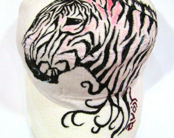 Zebra Style tattoo inspired handpainted Designer White Cap with adjustable band at the back