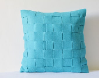 Turquoise Felt Cushion Cover , Blue Decorative Pillow , Accent Pillow, Felt Pillow with Woven Strips, Felt Throw Pillow , Blue Felt Cushion