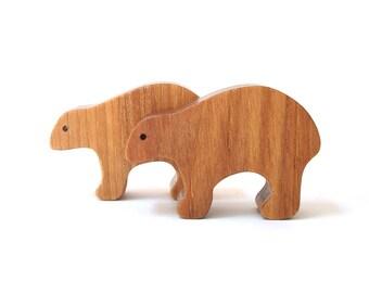 Toy Bears Wooden Miniature Animals Noah's Ark Zoo Play Set Bear Figurines Hand Cut Scroll Saw Hickory