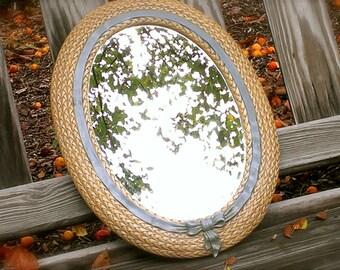 Framed Oval Mirror Faux Wicker Blue Bow Shabby Chic