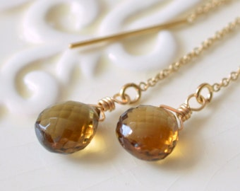 Beer Quartz Earrings, Threader Earrings, Gold Filled Jewelry, Wire Wrapped, Gemstone Earrings, Long and Dainty, Free Shipping