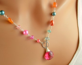 Coral Pink and Orange Necklace, Sterling Silver Toggle, Blue Topaz, Orange Garnet Gemstones, Freshwater Pearl Jewelry, Free Shipping