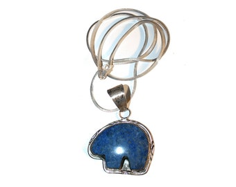 Vintage Lapis and Sterling Silver Bear - Huge pendant long silver necklace 925 Sterling