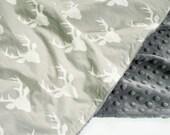 Minky Baby Blanket - Deer Heads on Gray - Personalization Available - Toddler Blanket - Deer Blanket