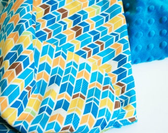 Sale - Chevron Baby Blanket, blue baby blanket, toddler blanket, orange baby blanket