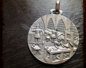 Antique Gutemberg press medieval printing workshop French large silverplated Medal Pendant - Vintage Jewelry pendant from France