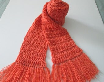 Orange cashmere scarf- super soft, extra long
