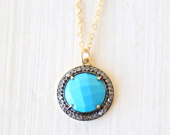 Luxurious Round Turquoise and White Topaz Necklace / 14K gold filled / modern simple luxe everyday jewelry
