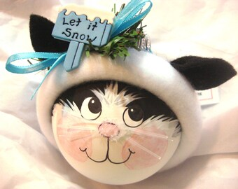 Black and White Cat Christmas Ornaments Let It Snow Hand Painted Handmade Personalized Themed by Townsend Custom Gifts - BackRoom