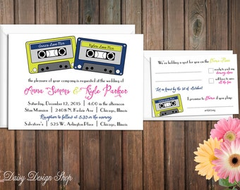 Wedding Invitation - Retro Cassette Tapes - Invitation and RSVP Card with Envelopes